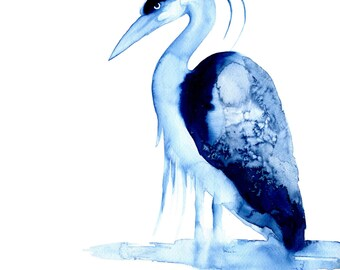 Grumpy Old Man Heron blue limited edition print  - bird art giclee watercolor