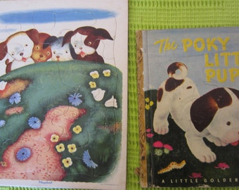 The Poky Little Puppy - A  Little Golden Book plus Matching Playskool Vintage Puzzle