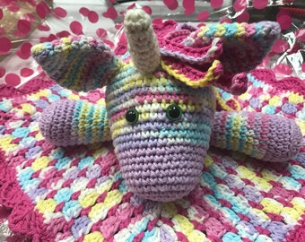 Crochet Unicorn Snuggle Blanket