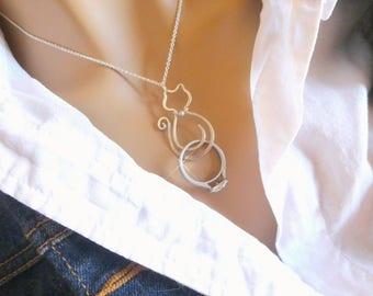 Cat Ring Holder Necklace, Wedding or Engagement Ring Holder Pendant