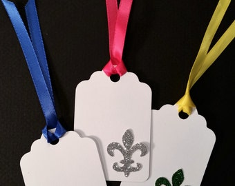 Gift Tags, Large ~ Hand-Glittered Fleur di Lis Gift Tags with Satin Ribbon for Mardi Gras, Goody Bags, Birthday Party, Place Card