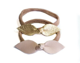 Baby nylon headband- Baby girl gift- baby girl coming home gift- gold baby headband- headbands for babies- leather bows baby- knot hair bow
