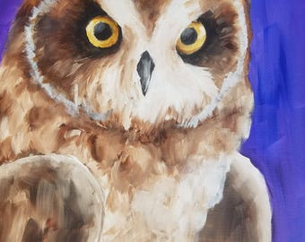 Owl with Blue/Purple Background