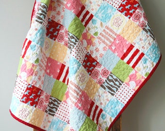 Modern Baby Quilt, Nursery Bedding, Patchwork Quilt, Reversible Quilt, Baby Girl Quilt, Pink, Blue and Red, Cabbage Roses, Handmade Quilt