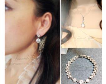 Bridal Jewelry Set, Wedding Jewelry Set, Bridal Necklace & Earring Set, Bridal Bracelet, Bridal Earrings, Jewelry Set, Bridal Necklace, Drop