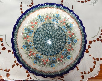 Strawberry Polish Pottery Pie Plate