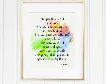 Rumi quote, Printable wall art, Rumi poster, Inspiring quote, Spiritual quote, Quote wall art, Home decor, Instant download