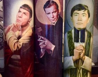 Star Trek Kirk Spock Sulu Saint prayer candle