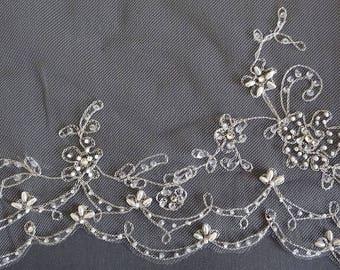 Beaded Wedding Veil, Silver Beaded Embroidered Veil, Scalloped Bridal Veil, Fingertip Veil, Floral Vine Veil, Crystal Beaded Veil