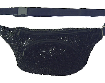 Black Sequined Fanny Pack