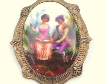 Vintage, Hand Painted Porcelain, French Couple,Cameo Brooch, Art Brooch, Vibrantl Colors, French Cameo, Unsigned