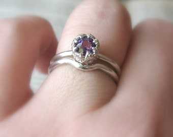 Amethyst Birthstone Ring Cake Ring in Sterling Silver - small version - Promise Ring or Unique Amethyst Engagement Ring Gemstone Ring