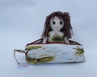 Doll, miniature doll, ooak doll, vanity case with cabins green pencil case green bag, doll with bag, handmade doll handmade bag fabric doll