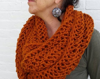 Rust Knit Infinity Scarf - Rust Knit Circle Scarf - Infinity Scarf - Rust Knit Scarf