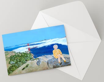 "Note Card 5 x 7"" of Original Painting ""Self Portrait "" by Award-Winning Artist Ingrid Lockowandt Blank Greeting Card San Francisco Bay Area"