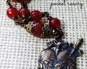 Immaculate Heart Pocket Rosary, Chaplet, Tenner, Wire-wrapped, Genuine Faceted  Carnelian gemstone, Catholic Jewelry, Christian Jewelry