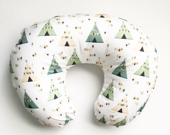 Nursing Pillow Cover Green Teepees.  Nursing Pillow. Nursing Pillow Cover. Minky Nursing Pillow Cover. Teepee Nursing Pillow Cover.