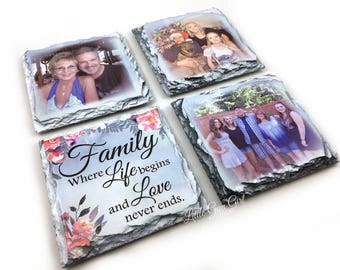 Personalized Photo Coasters - Custom Photo Slate Stone Coasters - Picture Coasters - Photo Coaster Set of 4 - Mothers Day Gift for Mom