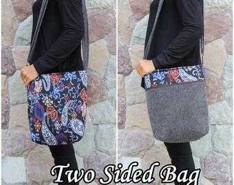 Black Retro Paisley Boho Chic Crossbody Bag     Cute Hobo Bag    Shoulder Bag  Hippie Bag   Women's Cross body bag    Vegan Crossbody bag