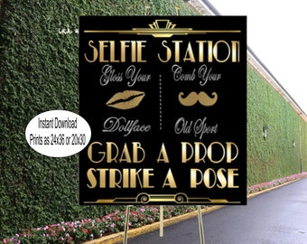 PRINTABLE Selfie Station, Photobooth sign*Gatsby party decoration* , 24x36 Roaring 20s Art deco*Wedding photobooth sign*Grab a prop and Str