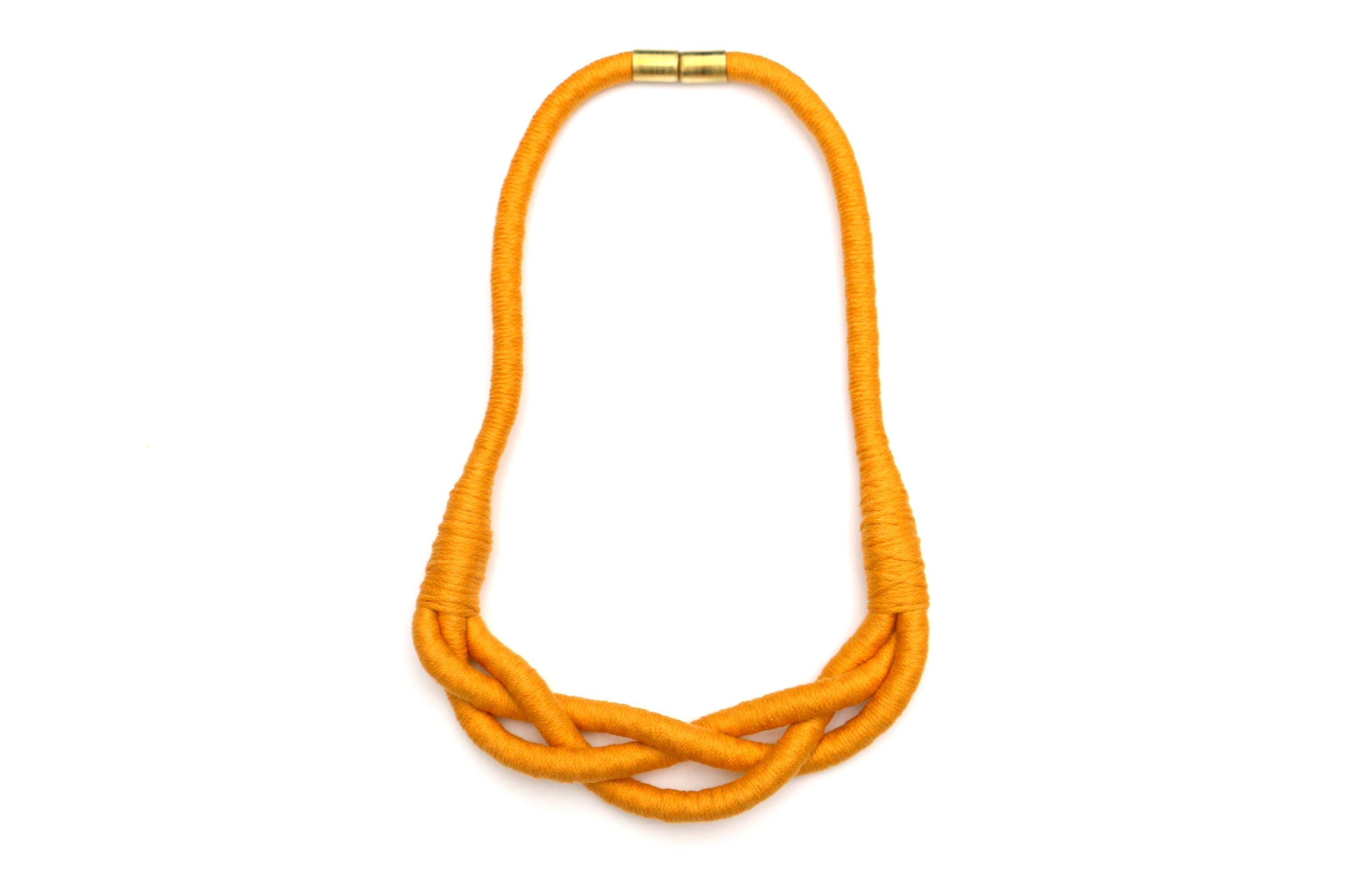 Mustard Braided Necklace For Women Textile Statement Rope