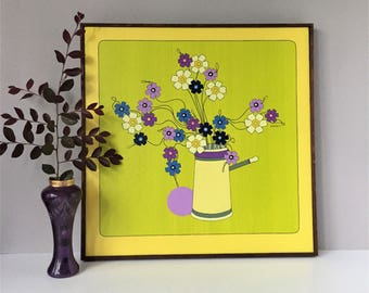 John Sember Original Painting, 1971 Canvas Art, Groovy Flower Power, Chartreuse and Purple Art, Mid Century Chicago Artist, Listed Artist