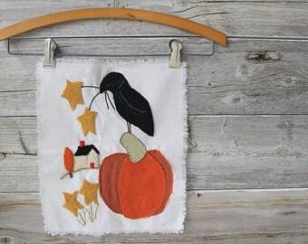 Primitive Autumn Decor Wall Hanging, Ready to Use, Needs Framed, Pillow Block,Quilt Block, Edgar Allen Poe,Fall Decor, Pumpkin decor