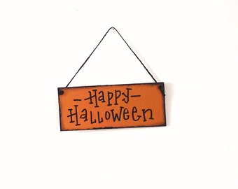 Halloween sign party decor, hand painted Happy Halloween, reclaimed wood sign, orange and black, front door decor, wall decor, holiday sign