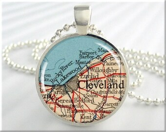 Cleveland Map Pendant, Resin Charm, Cleveland Ohio Map Necklace, Picture Jewelry, Gift Under 20, Round Silver, Map Charm 338RS