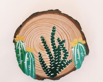 Cactus Coasters - Home Living - Painted Wood Rounds