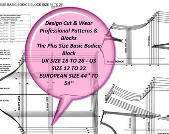 The Plus Size Basic Bodice Block With Straight Sleeve - UK Size 16 to 26 - US Size 12 to 22 - European Size 44'' to 54'' - Sloper -