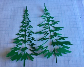 """DIE CUTOUTS - Pine Trees - One Set of Eight - Two of Each Measurements - 4.5"""" x 2"""" and 4.5"""" x 1/8"""". OR just One Set of one measurement."""