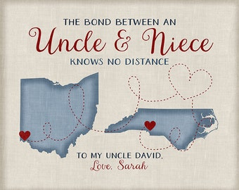 Gift for Uncle from Niece or Nephew, Long Distance Family Maps, Christmas Gifts for Uncles, Aunts, Nephew, Godmother, Godfather | WF373