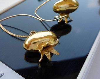 Pomegranate earrings, , Judaica jewelry,Gold pomegranate earrings,