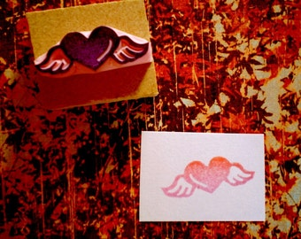 Heart rubbe stamp - hand carved rubber stamp
