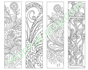 Bookmarks Coloring Printable, Instant Download. 9.