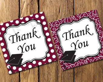Printable Maroon and White Graduation Thank You Tags - Instant Download