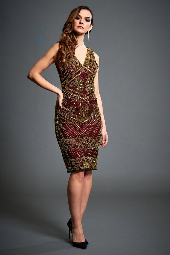 Irene Gold Embellished 20s Great Gatsby Inspired Gold Sequin