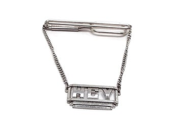 Vintage Tie Bar, Initial Letters H C Y, Silver Tone with Chain, Cravat Holder, Swank Signed, Tie Clip, Gentleman Jewelry, Dapper Mens