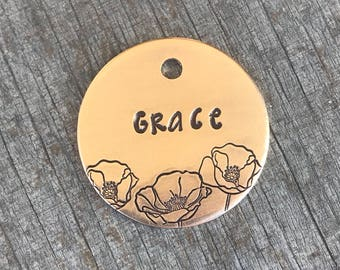 Pet Id Tag, Dog Tags, Dog Tags for Dogs, Dog Tag, Poppies, Personalized Dog Tag, Custom Dog Tag, Pet Supplies, Hand Stamped Dog Tag