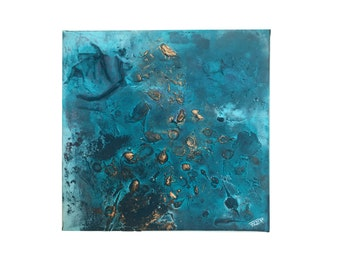 Sunshine in ocean - abstract acrylic painting Art abstract modern turquoise blue copper