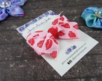 Pinwheel Hair Bow Clip - Sweet Kisses