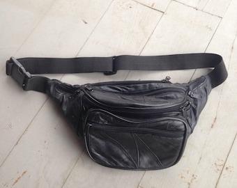 Vintage 80's Black Leather Fanny Pack LOTS of pockets