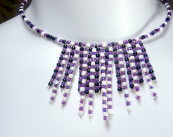 Purple, Black, White seed bead, Fringe Choker/Necklace