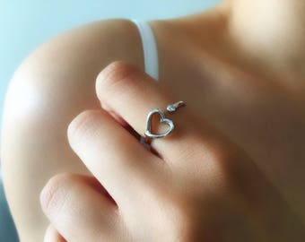 Heart shape Ring.Stacking Ring.Gold cz Ring.Adjustable Sterling Silver Ring. Dainty Ring