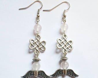 Celtic Earrings: Isolde (genuine Rose Quartz)