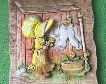 Vintage 70s Hollie Hobbie Lets Be Friends Wall Plaque/Wall Hanging/Hollie Hobbie Wall Decor