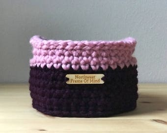 Small Round Crochet Storage Basket With Handles/ Catch-All Basket / Purple and Pink Basket / Housewarming Gift / Rustic / Boho