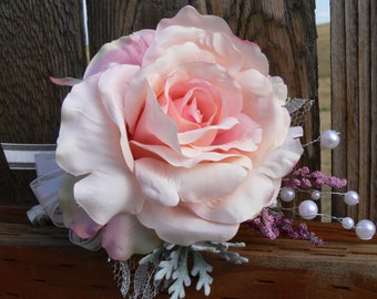 Silk Blush Rose Flower Corsage, pink with lace and pearls - perfect for Mother's Day, Wedding, or Baby Shower