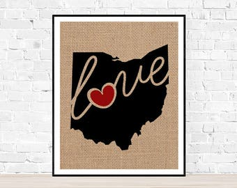 """Ohio (OH) """"Love"""" or """"Home"""" Burlap or Canvas Paper State Silhouette Wall Art Print / Home Decor (Free Shipping)"""